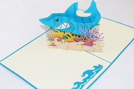 Shark 3D Pop Up Greeting Card Handmade Happy Birthday 153 - $7.99