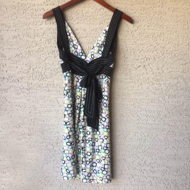 BCBG Max Azria XS Geometric Print Dress Mini Stretch Sleeveless