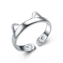 Cute 925 Silver Plated Cat Ear Opening Ring For Women Adjustable - £12.40 GBP
