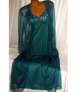 Cross Dyed Lace Long Nightgown Robe Set M Hunter Green 2 Piece - $37.50