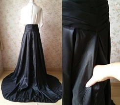 Women High Waisted Black Maxi Skirt Pleated Maxi Skirt with Train Evening Skirt image 6