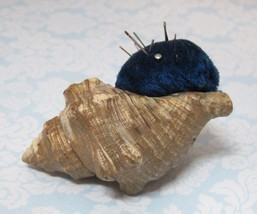 Old Real Seashell & Velvet Pincushion Real Shell Hand Made Wonderful SHP - $29.69