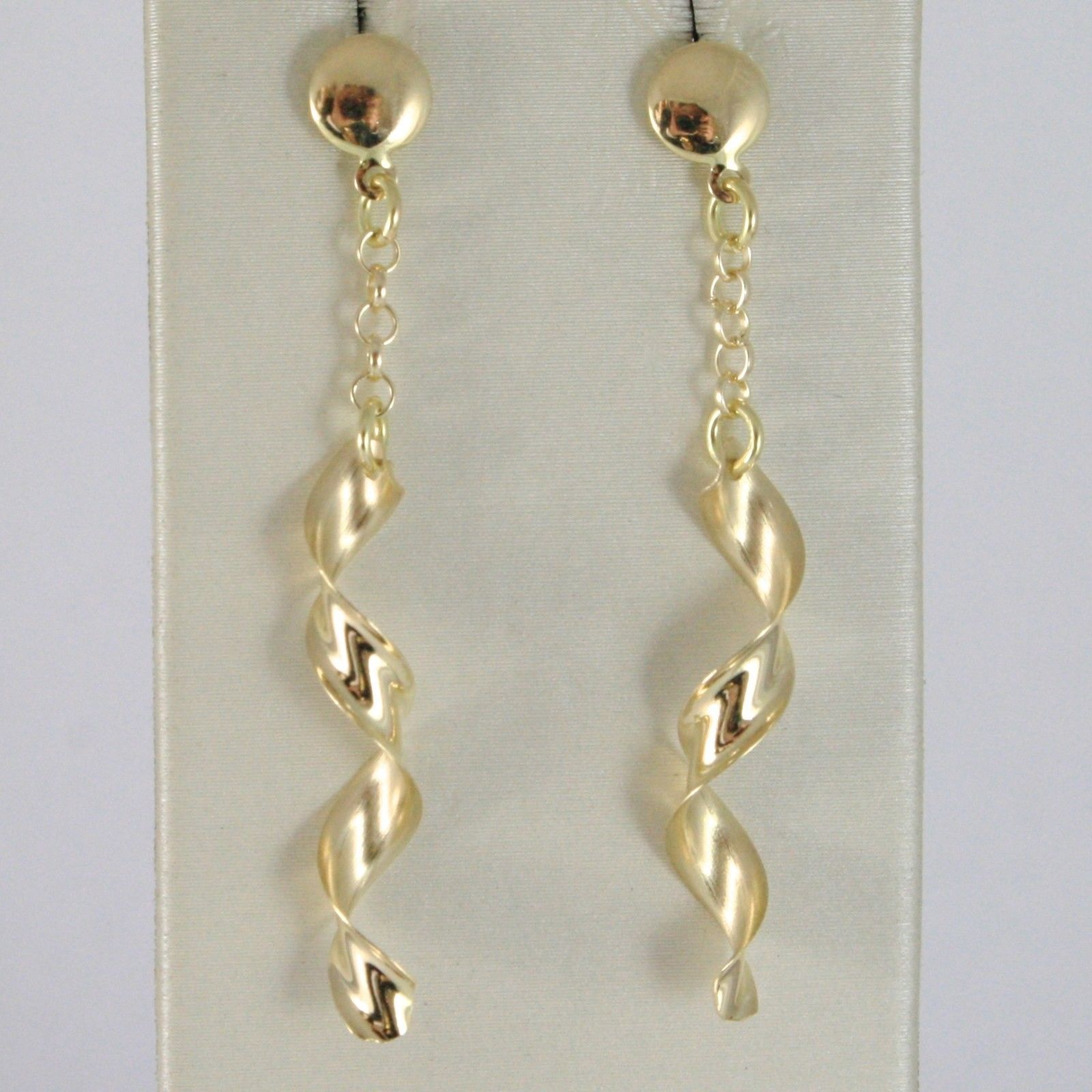 SOLID 18K YELLOW GOLD LONG PENDANT EARRINGS WITH WORKED SPIRAL & ROLO CHAIN