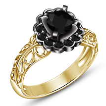 14k Yellow Gold Plated 925 Silver Round Cut Black CZ Flower Style Wedding Ring - $76.25