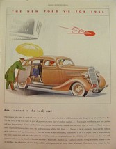 1935 FORD V-8 real comfort in the back seat lady driver PRINT AD - $9.99