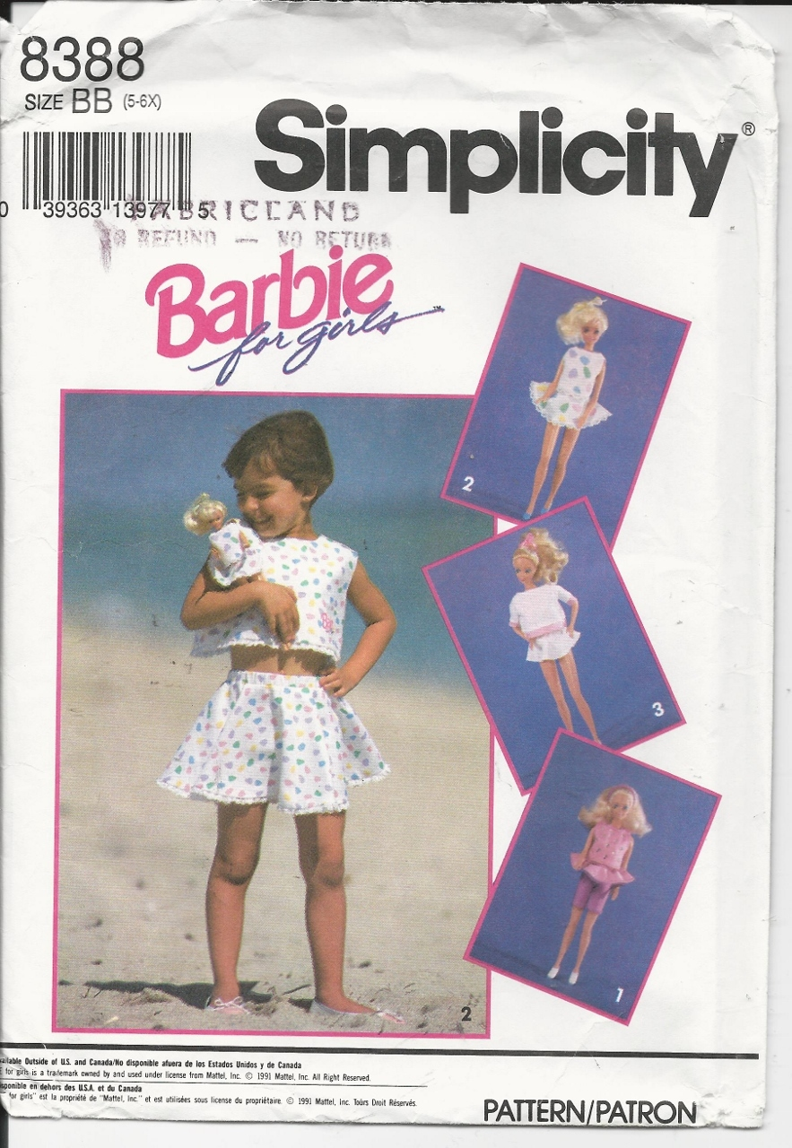 Simplicity 8388 barbie for girls pattern
