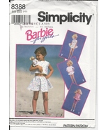 Simplicity 8388, Barbie for Girls Pattern Child & Doll Outfits Matching ... - $4.93