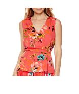 Liz Claiborne Sleeveless Wrap Print Top Tall Size XLT New La Vie En Rose - $16.99