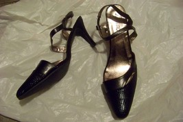 womens ashro black skin print strappy heels shoes size 12 - $19.79
