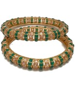 White & Green Cubic Zerconia Bangle set Indian jewelry ba b071 - $64.99