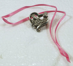 Longaberger HORIZON of HOPE Pewter HEART & ROSES Tie-On Breast Cancer NEW - $9.99