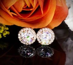 4Ct Round Cut Moissanite Diamond Basket Halo Stud Earrings 18K Rose Gold... - $123.49