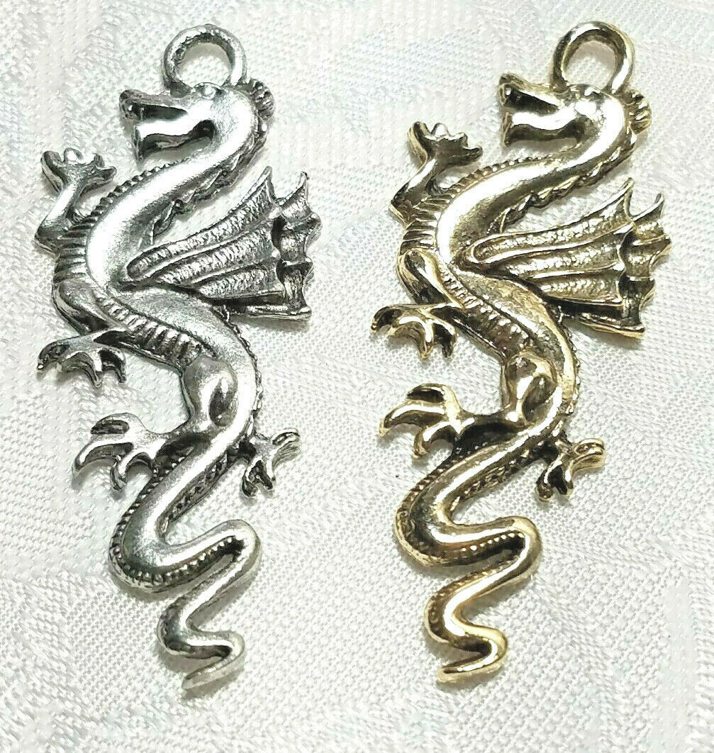 LARGE DRAGON FINE PEWTER PENDANT CHARM 49x20x3mm
