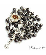 Black Hematite Catholic ROSARY Beads Religious Necklace Jerusalem Soil &... - $13.97