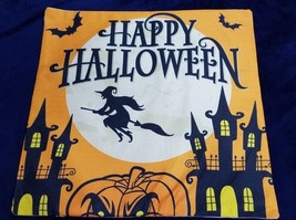 Happy Halloween Pillow Cover 17.5 In x 17.5 In Pumpkin WITCH HOUSE - £10.01 GBP