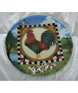 """PEGGY KARR Art Glass ROOSTER Chanticleer SIGNED  13-3/4"""" Round Platter - $39.95"""