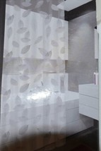 Riverside Thirteen Piece Shower Curtain Clear Frosted Leaf Pattern image 2