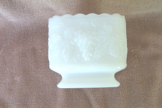 Milk Glass Square Dish Grapevine Pattern Ruffled Edges