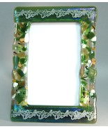 Green Potpourri Leaf Fused Glass Picture Frame Handcrafted 4 x 6 Photo  - $47.00