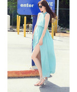 Boho Goddness. Sexy Splits Backless Sky Blue Ch... - $89.90