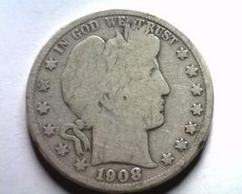 1908 Barber Half Dollar Good G Nice Original Coin From Bobs Coins Fast Shipment - $22.00