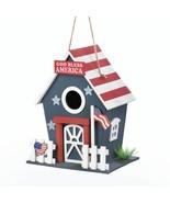 *18075B  Small Patriotic American Flag Wooden Birdhouse - $17.35
