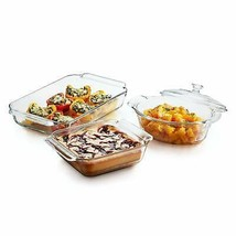 Libbey Baker's Premium 3-Piece Glass Casserole Baking Dish Set with 1 Cover - $47.63