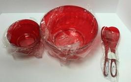 5PC RED PLASTIC SET OF SALAD BOWL + 2 BOWLS + TONG SET, FREE SHIPPING - $18.98