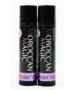 2 Moroccan Magic Argan & Essential Oil Organic Lip Balm - LAVENDER VANILLA  - $9.49