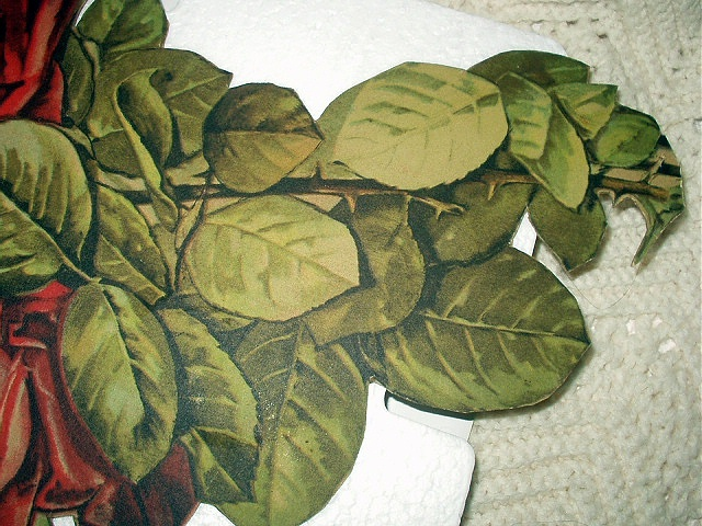 Lovely Very Large Antique DieCut-Three Red Roses In bouquet