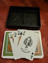 Double Deck KEM Playing Cards w/ Plastic Case Greens and Orange Designs