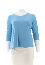 Susan Graver Modern Essentials Fully Lined Top Aster Blue L NEW A303119 - $30.67