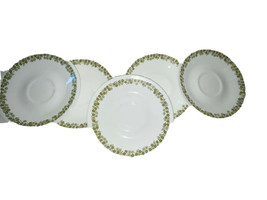 Vintage Corelle Spring Blossom Green Crazy Daisy 5 Saucers Free shipping - $17.10