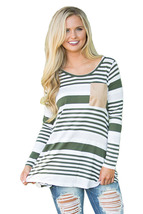 Olive Striped Patch Elbow Raglan Blouse  - $21.83