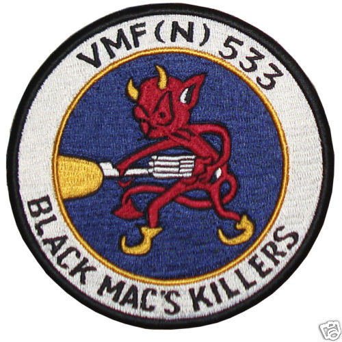 "VMF (N) 533  SAME AS UFO HUNTER'S BILL JACKET 5""PATCH"