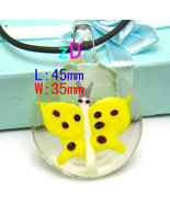 Yellow Butterfly  Murano Lapmwork Glass Pendant Necklace - $10.95