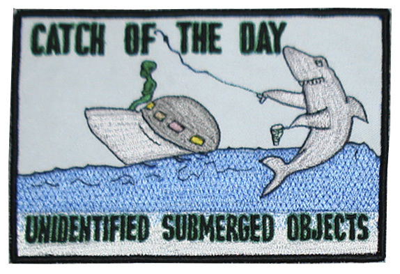 "UFO ALIEN USO CATCH OF THE DAY SHARK 4"" X 6"" PATCH"
