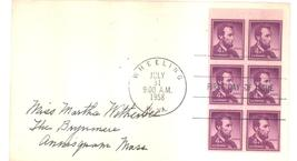 4 cents Lincoln Regular Issue Booklet Pane first day cover July 31, 1958 - $3.99