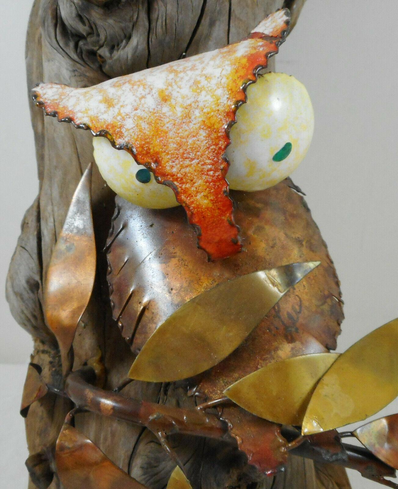"""Vintage Owl Hanging Sculpture Wood Log Metal Leaves Wall Art 10"""""""