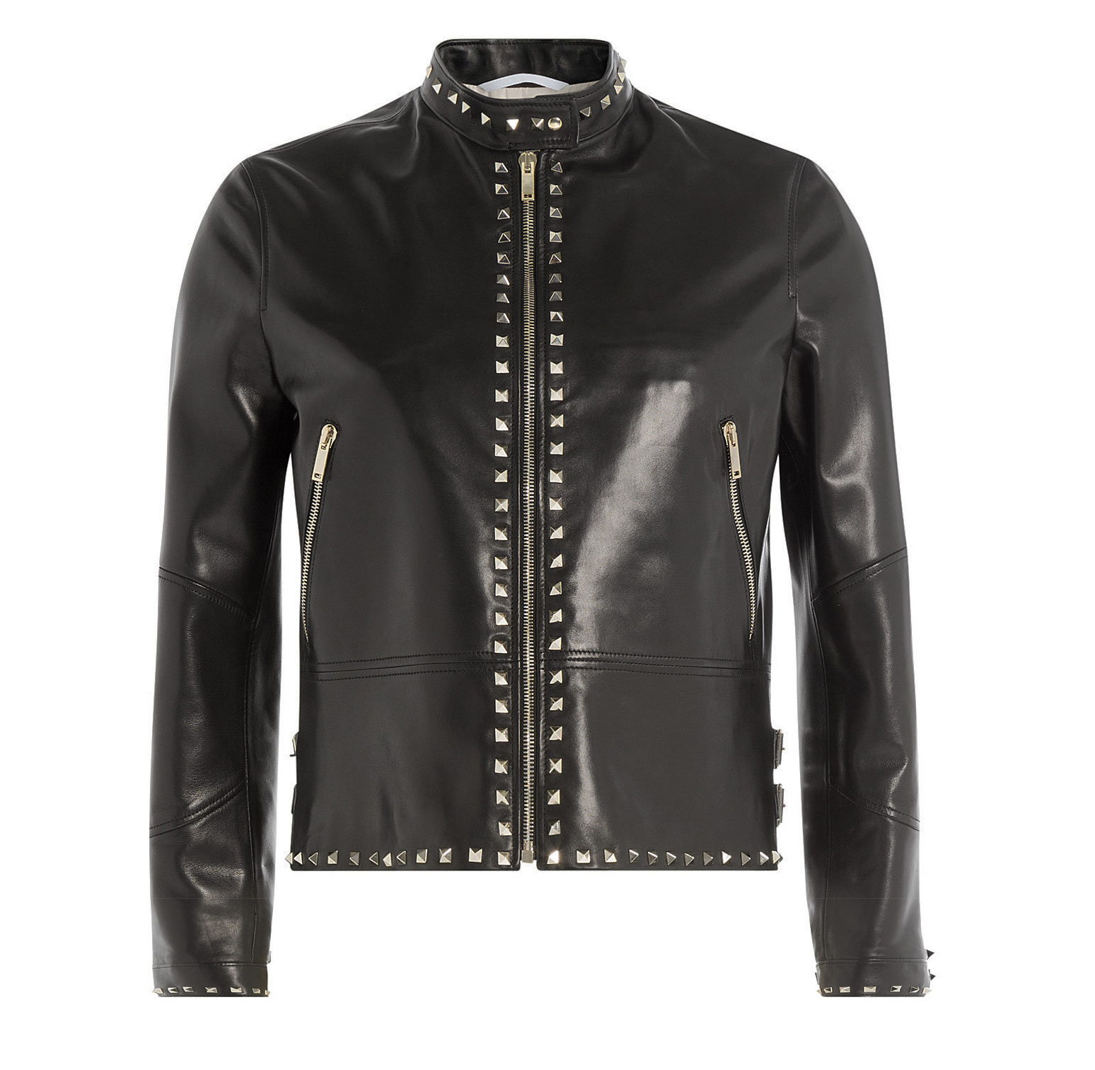 Handmade Rock Punk Silver Studed leather Jacket Womens
