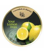 Cavendish & Harvey hard drop Sour Lemon Drops Candy, 5.3 oz small tin Ca... - $44.99