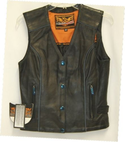Milwaukee Leather ML1293 Womens Riding Vest Black Embroidered Wings X Small