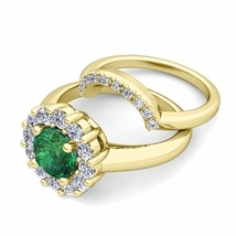 2Carat Emerald & Simulated Diamond 14K Yellow Gold Finish Bridal Halo Ring Set - $99.99