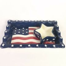 Americana Chip Dip Set USA Flag Serving Tray Stars Stripes 14 X 8.5 Homco NEW image 8