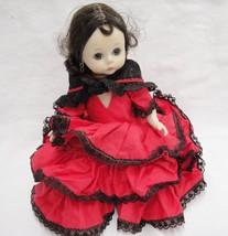 "Madame Alexander Spanish Girl Doll Traditional Red Dress 7"" Brown Sleep ... - $18.80"