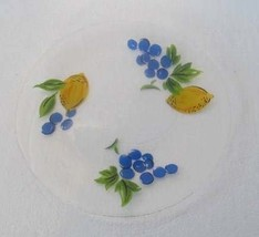 "Handpainted Glass Art Plate ""Lemons & Grapes"" Collectible Display Decora... - $22.99"
