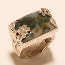Ring 925 Sterling Silver  Jewelry Carved Beautiful Agate Vintage India M... - $379.05