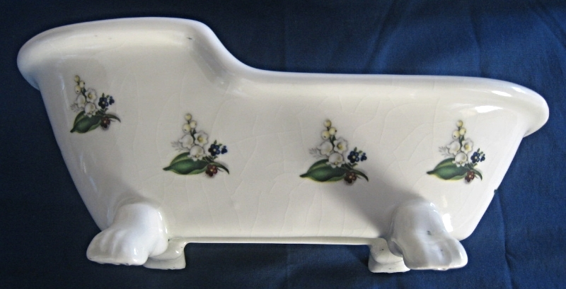 Vintage Porcelain Glazed Planter in white with hand stencile