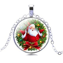 Christmas Gift Silver Chain Glass Cabochon Santa Claus Chain Anime Necklace - $9.99