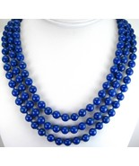 Midnight Blue Lapis 8mm Rounds 3 Strand Hand Knotted Necklace 14k Gold V... - $256.32